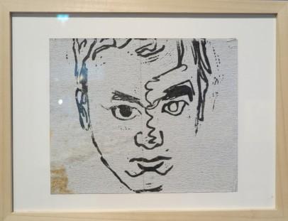 Zelfportret, Linoleumsnede op schuurpapier