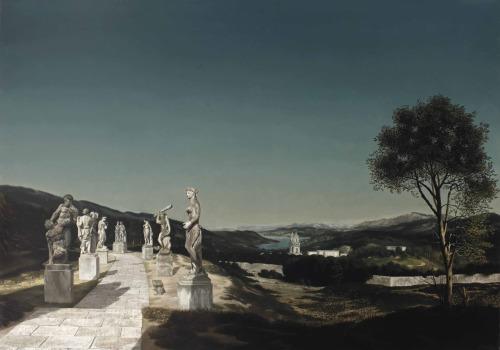 Carel Willink Landschap met zeven beelden, olieverf op doek, 101 x 143 cm, 1946.